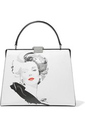 Michael Kors Collection David Downton Brooke Printed Leather Tote White
