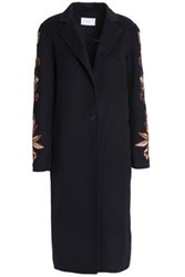 Sandro Embroidered Wool And Cotton Blend Coat Navy