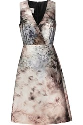 Valentino Printed Cotton And Silk Blend Dress Gray