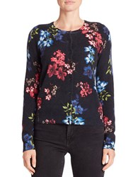 Lord And Taylor Floral Cashmere Cardigan Black