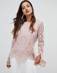Girl In Mind Crochet Lace Flute Sleeve Top Pink