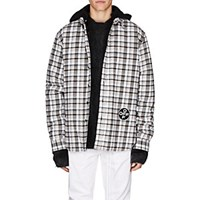 Off White C O Virgil Abloh Cotton Blend Flannel Shirt Gray