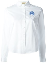 Peter Jensen Peter Pan Collar Embroidered Shirt White