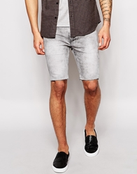 Religion Noize Skinny Fit Denim Shorts In Acid Wash Icegreywash