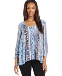 Style And Co. Printed Button Front Peasant Blouse