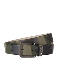 Valentino Star Camo Leather And Canvas Belt Unisex Khaki