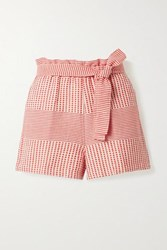 Lemlem Semira Belted Cotton Gauze Shorts Coral