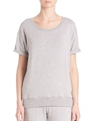 Beyond Yoga Slouchy Short Sleeve Pullover Heather Grey