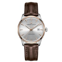 Hamilton H32441551 Men's Jazzmaster Date Leather Strap Watch Brown Silver