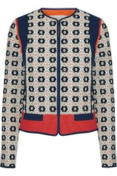 Tory Burch Rainford Fil Coupe Jacquard Jacket Navy