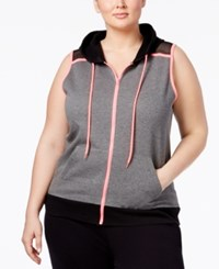 Material Girl Active Plus Size Zip Hoodie Vest Only At Macy's Charcoal Heather