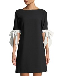 Cynthia Steffe Bow Sleeve Crepe Mini Dress Black