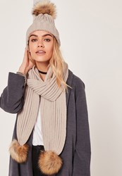 Missguided Faux Fur Pom Pom Hat And Scarf Set Nude Mink