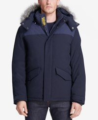 Vry Wrm Men's Free Ride Nordic Stretch Hooded Puffer Coat Nordic Navy