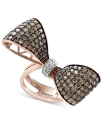 Effyespresso Diamond Bow Ring 3 3 8 Ct. T.W. In 14K Rose Gold And Black Rhodium Plate