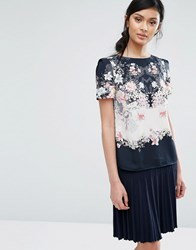 Oasis Floral Print Woven Tee Multi