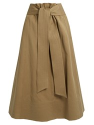 Joseph Arka A Line Cotton Canvas Midi Skirt Beige