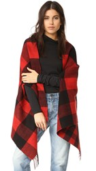 Madewell Buffalo Check Cape Scarf Bright Flame