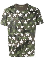 Valentino Military Star Print T Shirt Green