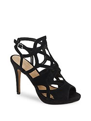 Saks Fifth Avenue Cage Design Leather Stiletto Sandals Black