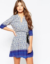 Yumi Dress With 3 4 Length Sleeves And Feather Tie Belt Blue