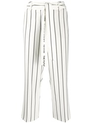 Cambio Logo Tape Striped Cropped Trouseers Neutrals