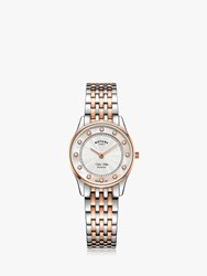 Rotary Lb08302 07 D 'S Ultra Slim Diamond Bracelet Strap Watch Silver Rose Gold