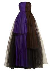 Delpozo Strapless Tiered Silk Blend Tulle Gown Black Purple
