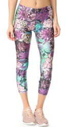 Terez Purple Succulent Performance Capri Leggings Multi