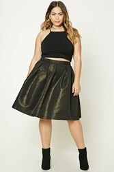 Forever 21 Plus Size Pleated Skirt Black Gold