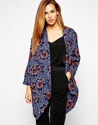 Girls On Film Throw On Jacket In Bold Floral Print Blue