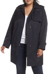 Gallery Plus Size Women's A Line Swing Raincoat With Detachable Hood And Liner Navy