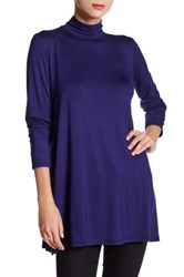 Cable And Gauge Turtleneck Oversize Tunic Blue