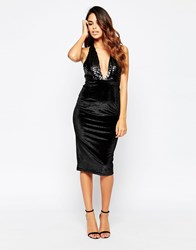 Club L Sequin Halteneck Dress With Velvet Skirt Black