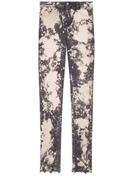 Gucci Embroidery Stretch Tight Jeans Pink Purple