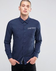Firetrap Brushed Flannel Shirt Navy