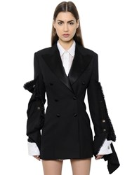 Y Project Deconstructed Wool Crepe And Satin Jacket