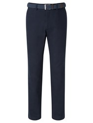 John Lewis Semi Formal Cotton Trousers With Belt Navy