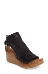 A.S.98 Women's A.S. 98 Nathan Platform Wedge Sandal Nero Leather