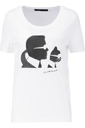 Karl Lagerfeld And Choupette Printed Cotton T Shirt White