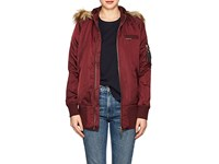 Members Only Faux Fur Lined Elongated Bomber Jacket Amber