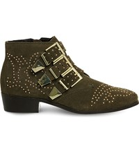 Office Lucky Charm Suede Ankle Boots Khaki Suede