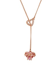 Betsey Johnson Cubic Zirconia Heart Lariat Necklace Pink