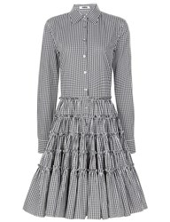Jourden Black And White Gingham Tiered Shirt Dress