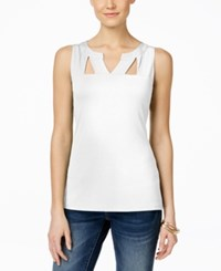 Inc International Concepts Sleeveless Cutout Top Only At Macy's Bright White