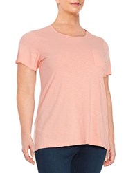 Lord And Taylor Plus Crewneck Pocket Tee Grapefruit
