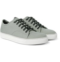 Lanvin Cap Toe Canvas Sneakers Gray Green