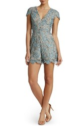 Dress The Population Women's Juliette Plunge Romper Mineral Blue Nude