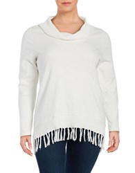 Rafaella Plus Fringe Accented Cowlneck Sweater White