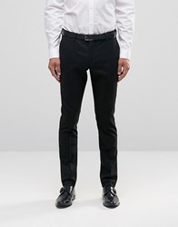 Selected Homme Skinny Fit Pinstripe Trousers With Stretch Black